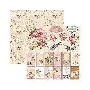 Papel para scrapbook - 30x30 - Dupla Face - Floral Clássico Tags e Recortes - TEC