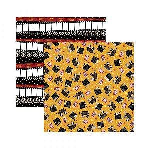 Papel para scrapbook - 30x30 - Dupla Face - Cinemas Cameras - TEC