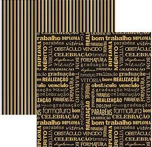 Papel para scrapbook - 30x30 - Dupla Face - Formatura Palavras - TEC
