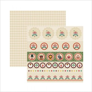 Papel para scrapbook - 30x30 - Dupla Face - Circo Vintage Selos e Tags - TEC