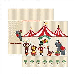 Papel para scrapbook - 30x30 - Dupla Face - Circo Vintage Cenário e Bandeirolas - TEC