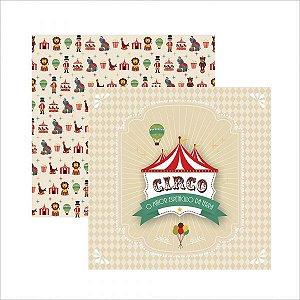 Papel para scrapbook - 30x30 - Dupla Face - Circo Vintage Guirlanda - TEC