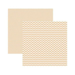 Papel para scrapbook 30x30 - Dupla Face - Chevron Coral - TEC