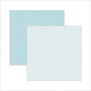 Papel para scrapbook - 30x30 - Dupla Face - Azul Bebê FB Coração - TEC