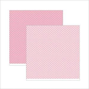 Papel para scrapbook - 30x30 - Dupla Face - Rosa Bebê Coração - TEC