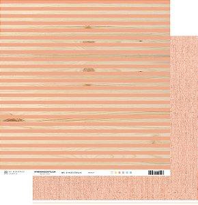 Papel scrapbook 30x30 My Essentials - Listras com Laranja/Coral - My Memories Crafts