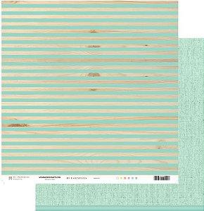 Papel scrapbook 30x30 My Essentials - Listras com Verde - My Memories Crafts
