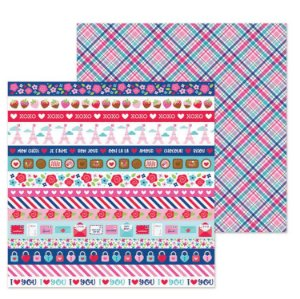 Papel para scrapbook 30x30 -  Dupla Face - French Kiss - Amor - Passion for Plaid - Doodlebug
