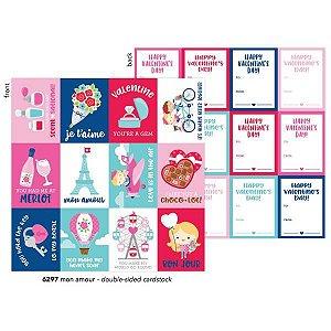 Papel para scrapbook - 30x30 - French Kiss - Mon Amour - Amor - Doodlebug