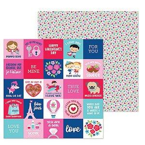 Papel para scrapbook - 30x30 - French Kiss - Petite fleur - Amor - Doodlebug