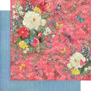 Papel para scrapbook - 30x30 - Dupla Face - Flutter Collection - Dazzling - Graphic 45