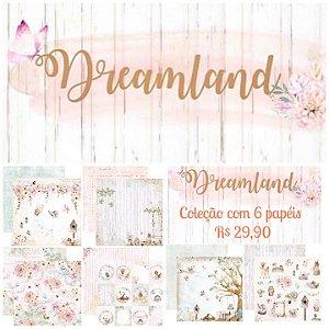 Kit com 06 papeis de scrapbook 30x30 - Dupla Face - Coleção Dreamland - Dany Peres