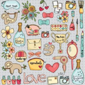 Papel de scrapbook 30x30 - Dupla Face - Mix - Essencial - Goodies