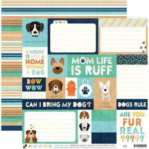 Papel para scrapbook 30x30 - Dupla Face - Dog Tags  - Playful Pets - DCWV