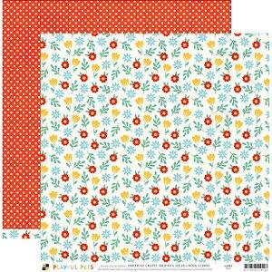 Papel para scrapbook 30x30 - Dupla Face - Floral  - Playful Pets - DCWV