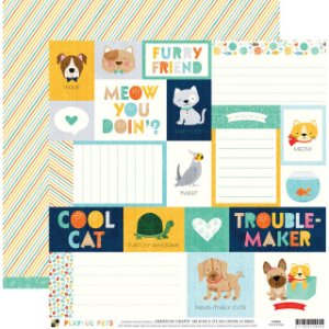 Papel para scrapbook 30x30 - Dupla Face - Cats and Dogs  - PlayFul Pets - DCWV
