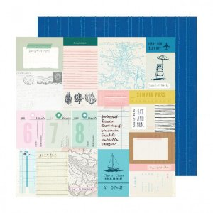 Papel para scrapbook - 30x30 - Dupla Face - Beach Day - Sunny Days - Crate Paper