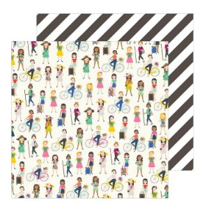 Papel para scrapbook - 30x30 - Dupla Face - Chasing Adventures - On the Go Girls - Jen Hadfield - American Crafts