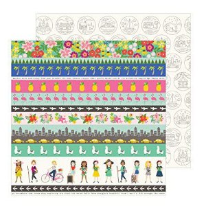 Papel para scrapbook - 30x30 - Dupla Face - Chasing Adventures - Adventures Strips - Jen Hadfield - American Crafts