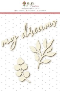 Cartela de enfeites em chipboard   - My Dreams - Shabby Dreams - Juju Scrapbook