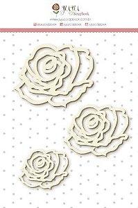 Cartela de enfeites em chipboard Trio de Rosas - Shabby Dreams - Juju Scrapbook