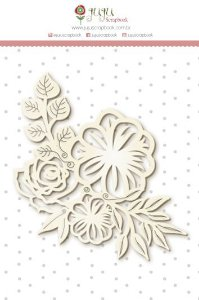 Cartela de enfeites em chipboard - Floral - Shabby Dreams - Juju Scrapbook