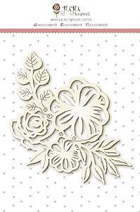 Cartela de enfeites em chipboard - Floral - Shabby Dreams - Juju Scrapbook