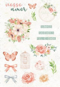 Cartela de adesivos Nosso Amor -  Shabby Dreams - Juju Scrapbook