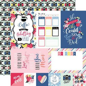 Papel Scrapbook - I am Mom Collection -  4 x 6 Journaling Cards - Echo Park