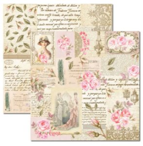 Papel scrapbook 30x30 Rose e Mint 6 - Arte Fácil