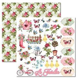 Papel scrapbook 30x30 Le Jardin 4 - Arte Fácil