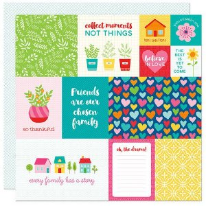 Papel para scrapbook - 30x30 - Dupla Face - Home Sweet Home - Cards -  Bella BLVD