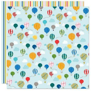 Papel para scrapbook - 30x30 - Dupla Face - Let's Go On An Adventure - Balões - Bella BLVD