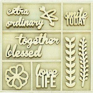 Embalagem de apliques em MDF -  Wooden Flourish Pack - Love Life - Kaisercrafts