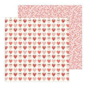 Papel scrapbook 30x30 Loves me - Sweet Love - Coração - Amor Pebbles