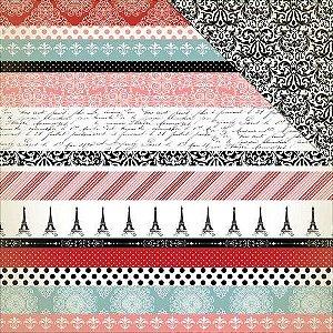 Papel scrapbook 30x30 Amour - Border Strips - Carta Bella