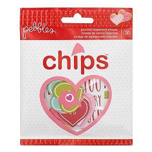 Die Cuts - Chips - Love - Amor -  Pebbles