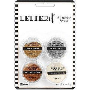 Kit de pó de emboss - Letter It Embossing Powder Set - Tinsels - Metálicos - Ranger