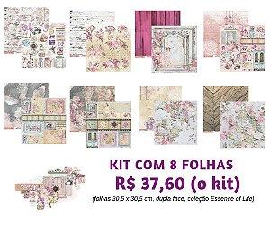 Kit com 08 folhas 30x30 - Dupla Face - Coleção Essence of Life  - Carina Sartor