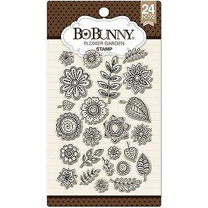 Cartela de carimbos de silicone - Flower Garden - Bo Bunny