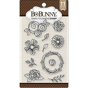 Cartela de carimbos de silicone - Simply Flowers - Bo Bunny