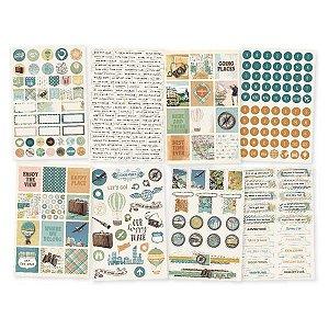 Kit 8 cartelas adesivos - Traveler - Simple Stories