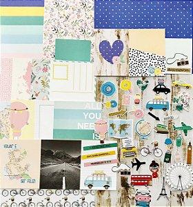 Kit Studio Baunilha - Kit Viajar é Preciso - Folhas, Die Cuts e Cards