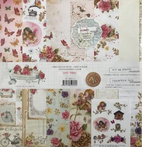 Kit com 12 papéis coleção You are my Home, 30x30, 180g, dupla-face - Dany Peres + cartela de adesivos exclusiva