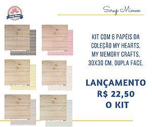 Kit com 6 papéis da Coleção My Hearts - My Memory Crafts