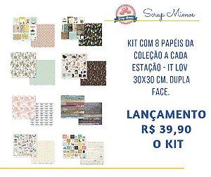 Kit com 8 papeis 30x30 cm, dupla face - COLEÇÃO A CADA ESTAÇÃO - IT LOV