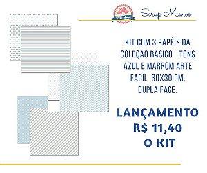 Kit com 3 papeis, dupla face - 30x30 cm - Coleção Basico Tons Azul e Marrom - Arte Fácil