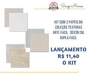 Kit com 3 papeis, dupla face - 30x30cm - Coleção Texturas - Arte Fácil