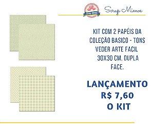 Kit com 2 papeis, dupla face -  30x30 cm - Coleção Basico Tons Verde - Arte Fácil
