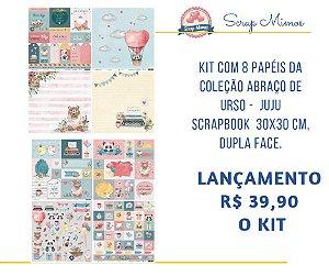 Kit 8 papéis Abraço de Urso - Juju Scrapbook